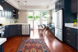 Quiet Dishwashers Blue Kitchen Rug With Navy Cabinets Kitchen Transitional And