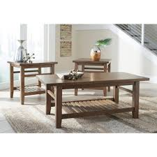 Ashley Outdoor Furniture Ashley Furniture Zantori 3pc Occasional Table Set In Light Brown