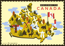 Canada Map by Canada Map With Typical Elements Vector Download