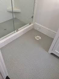Bathroom Shower Floor Ideas Gray Rounds On Bathroom Floor And Shower Floor 3x6 White