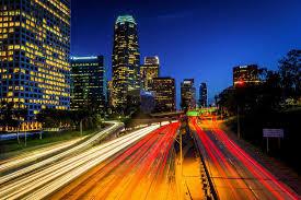 downtown los angeles skyline photo print on metal u0026 canvas wall