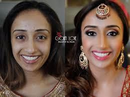 before and after of our bride makeup and hair for sangeet indian wedding gold and pink