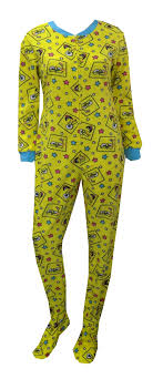 webundies spongebob faces yellow onesie footie pajama
