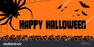 happy halloween background nightmare spider monster stock vector