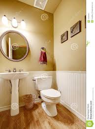 Small Bathroom Stand by Small Bathroom With White Wall Trim Stock Photo Image 44363947
