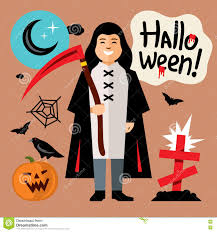 vector halloween death cartoon illustration stock vector image
