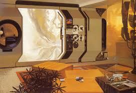 retro futuristic interior design by syd mead retrofuturism