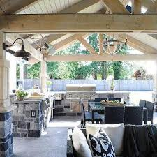 Outdoor Kitchen Covered Patio Covered Patio With Outdoor Kitchen And Zinc Outdoor Dining Table
