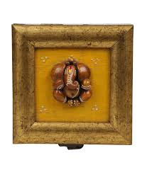aaina home decor small ganesh idol with border handcrafted box