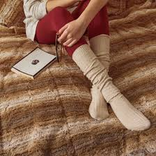 s muk luks 3pk cable knee high socks neutral one size target