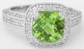 peridot engagement ring cushion cut peridot and engagement ring and wedding band