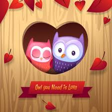 you it you buy it s day heart s day owls cuddle with heart tree home vector