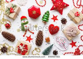 New Year Ornaments Craft Background Decorations New Year Symbol Stock Photo