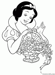 coloring page snow white with a basket of flowers