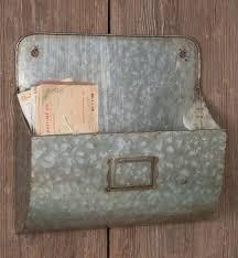 galvanized wall pocket organizer with label set of 2