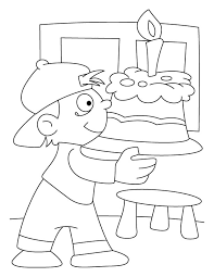 a boy holding a birthday cake coloring pages download free a boy