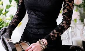 lady black lace dress with accessories for new year u2013 watch out ladies