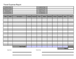 Trip Expense Tracker by Free Printable Travel Expense Report