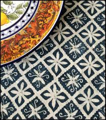 lake diamond natural indigo block print batik table linens