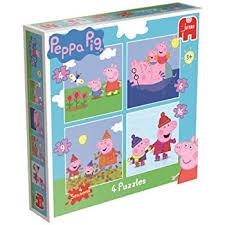 peppa pig 4 1 jigsaw puzzles box 4 6 9 16 pieces amazon