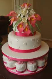 wedding cake with pink calla lilies and mini cakes bedford cake maker