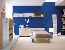 bright two tone white and blue bedroom nursery interior paint with