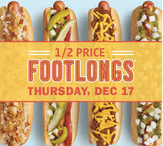 half price restaurant sonic drive in deal half price footlongs 12 17 only restaurant