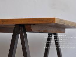 Steel Frame Desk A Shaped Metal Frame Retro Nostalgia Wood Dining Table Work Desk