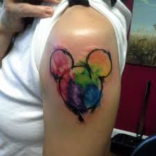 watercolor mickey mouse head disney tattoo on left shoulder