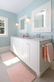 painted bathroom vanity bathroom craftsman with hex tile double