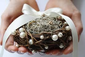 wedding ring holder ring bearer pillow rustic ring box bird nest ring bearer wedding