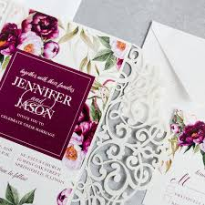 wedding invitations burgundy classic boho burgundy watercolor floral garden wedding invitation