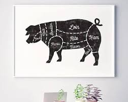 Pig Kitchen Curtains by Kitchen Art Etsy