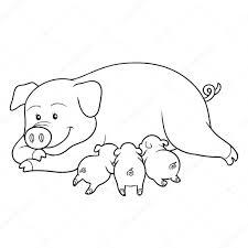 coloring book pig mommy piget u2014 stock vector ksenya savva