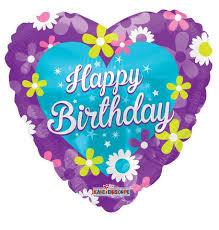 large birthday balloons purple heart flowers happy birthday balloon bouquet