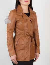 light brown leather jacket womens womens asymmetric zip tan leather jacket hip length eternity uk lj