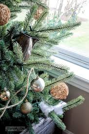 rustic christmas tree in a crate with living room tour and some