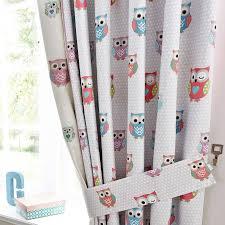 kids pretty owls blackout pencil pleat curtains dunelm baby
