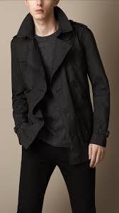 burberry short technical trench coat in black for men lyst
