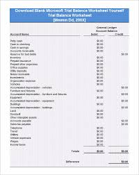 Excel Balance Sheet Template Free 6 Trial Balance Worksheet Templates Free Excel Pdf Documents