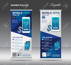 Stand Up Flag Banners Mobile Apps Roll Up Banner Template Stand Layout Blue Banner