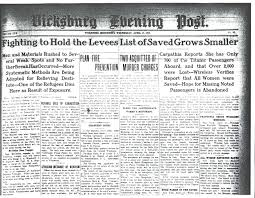 newspapers coverage of the 1912 flood and the titanic in the vicksburg evening post april 17