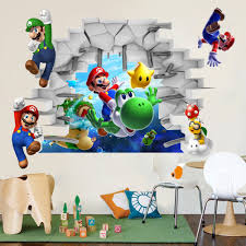 Wall Decals For Kids Rooms 3d Super Mario Bro Art Kids Room Decor Break Wall Sticker Wall