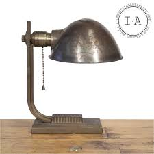 vintage industrial desk table lamp with hubbell shade and pull