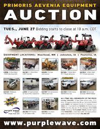 sold june 27 primoris aevenia equipment auction purplewav