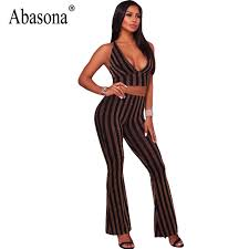 jumpsuits for evening wear abasona striped wide leg jumpsuits evening wear two