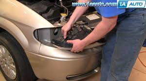how to install replace headlight and bulb chrysler town and