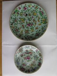 Chinese Hand Painted Porcelain Vases Two 19th C Chinese Export Porcelain Plates Hand Painted