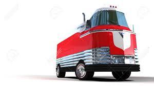retro red bus in retro futuristic style sixties 3d image stock