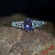 chagne diamond engagement ring alexandrite color change sapphire black diamond filigree